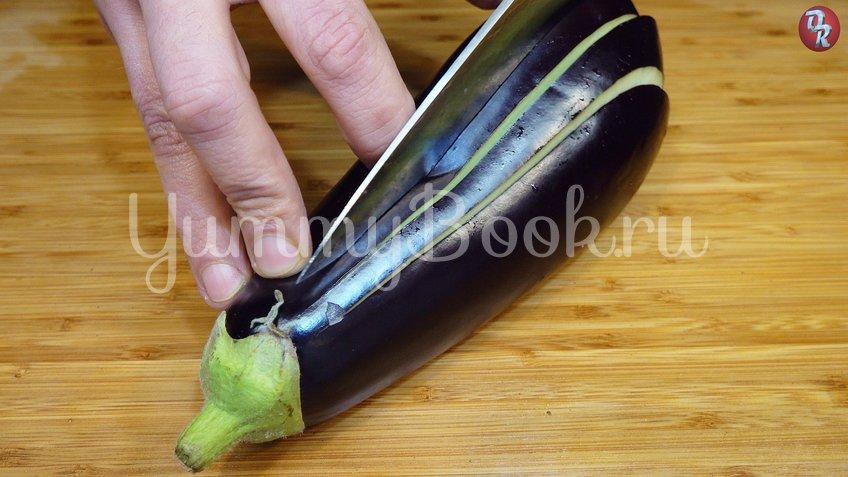 Фаршированные баклажаны с сыром веером - шаг 1