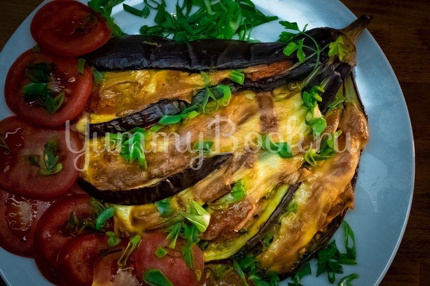 Фаршированные баклажаны с сыром веером