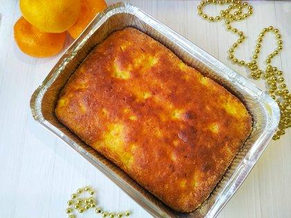 Легкий творожный кекс с мандаринами (без муки)