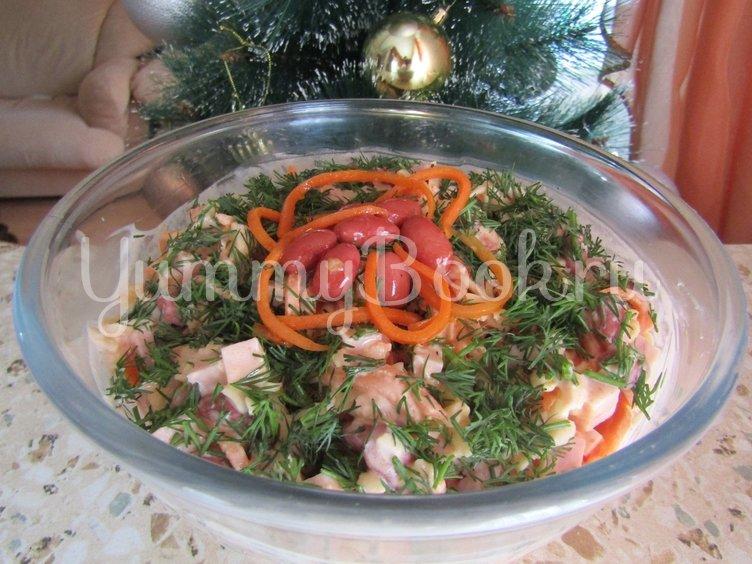 Салат с ветчиной, фасолью и морковью по-корейски - шаг 3