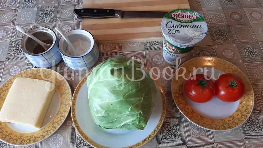 Салат из молодой капусты с помидорами и сыром - шаг 1