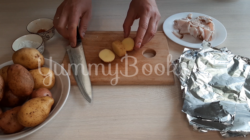 Картошка запечённая с салом - шаг 3