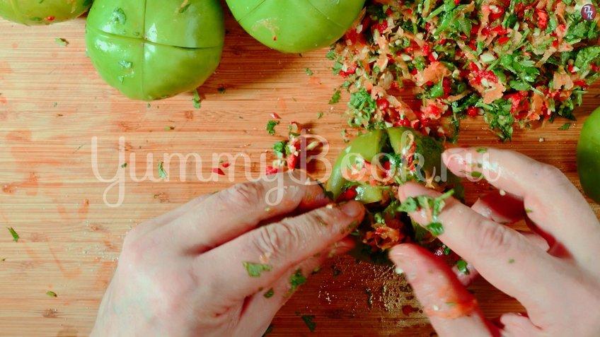 Квашеные фаршированные зеленые помидоры - шаг 6