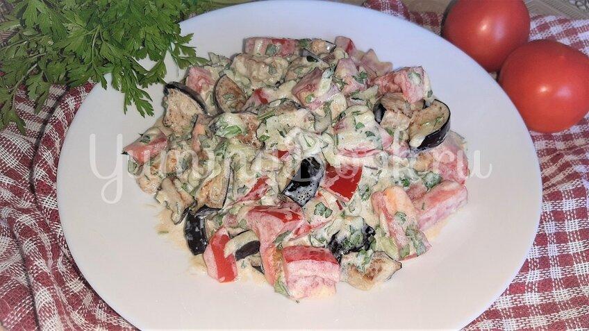 Салат с баклажанами, помидорами и огурцами - шаг 3