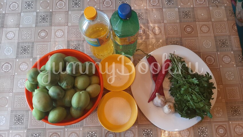 Салат из зеленых помидоров на зиму - шаг 1