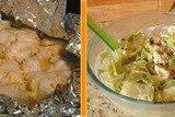 Курица в апельсиновом маринаде и салат