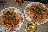 Спагетти с креветками и белым вином