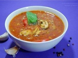 Суп томатный с рисом и мидиями