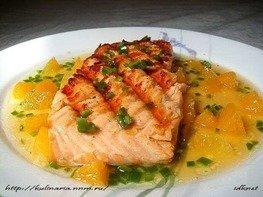 Запечённый лосось с острым апельсиновым соусом