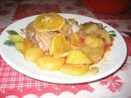 Курица с овощами и с апельсинами