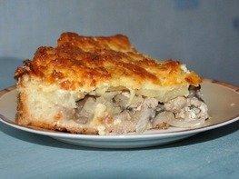 Пирог с грибами, курицей и картофелем