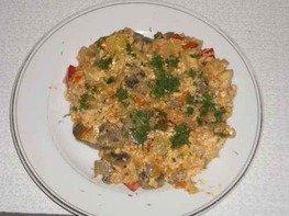 Рагу овощное с грибами и куриной печенью