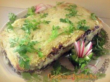 Картофельная запеканка с грибами и фаршем