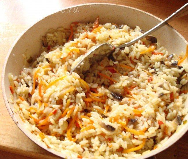 Рис с овощами и грибами - шаг 2