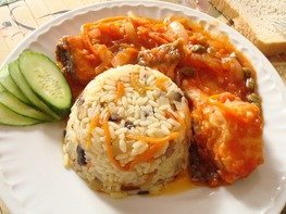 Рис с овощами и грибами