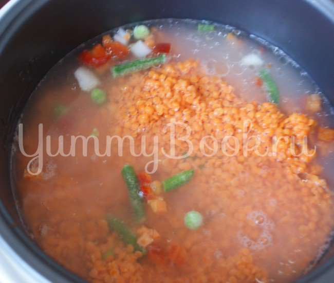 Чечевичная каша с мясом и овощами в мультиварке - шаг 4