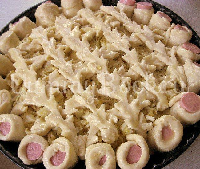 Открытый пирог с капустой и сосисками - шаг 6