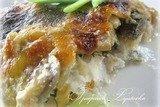 Судак с грибами под сырно-сливочным соусом