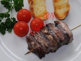 Шашлык из  свинины (шея) в ореховом маринаде с грушами