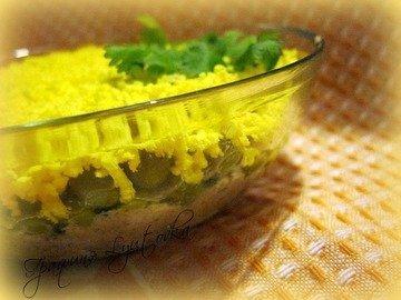 Салат из печени трески