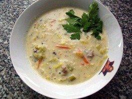 Сырный суп с луком пореем в мультиварке