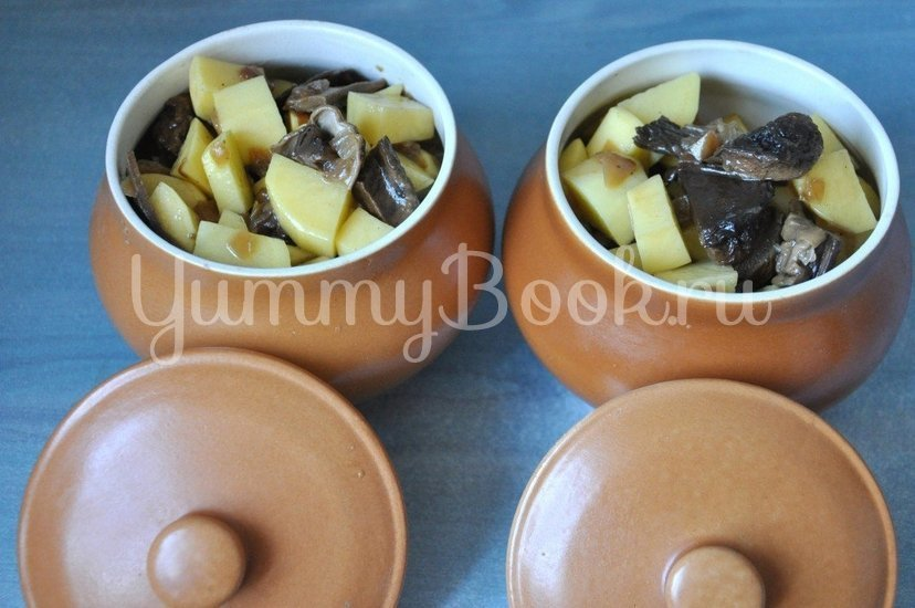 Картофель с грибами в горшочке - шаг 5