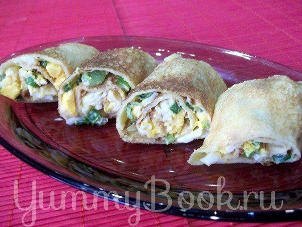 Блинчики, фаршированные яйцом и луком