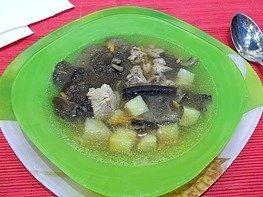 Суп из лесных грибов и мяса