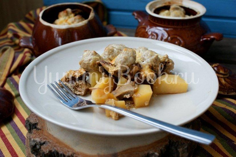 Картофель с грибами и фрикадельками в горшочках - шаг 9