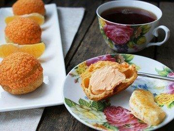 Пирожные Шу с апельсиново-творожной  начинкой