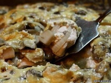 Куриная грудка с грибами, запеченные в йогурте