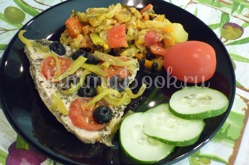 """Филе индейки, запечённое с маслинами, """"Черри"""" и болгарским перцем - шаг 19"""