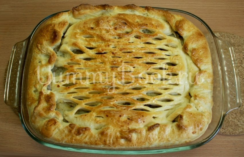 Дрожжевой пирог с картофелем и грибами - шаг 9