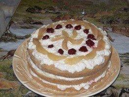 Торт с фруктами и йогуртовым кремом