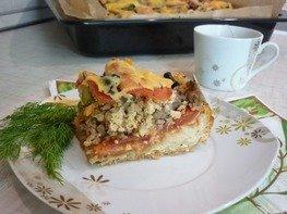 Домашняя пицца-пирог на пирожковом тесте
