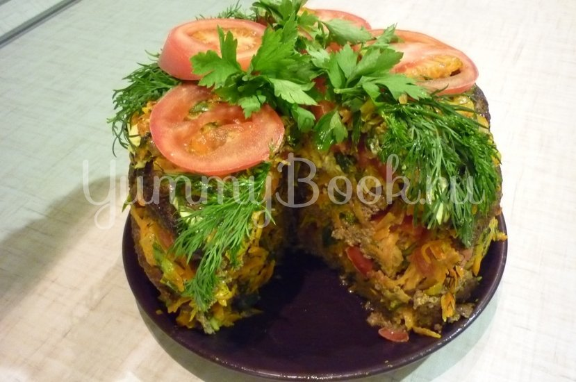 Печёночный торт с зеленью и помидорами - шаг 24