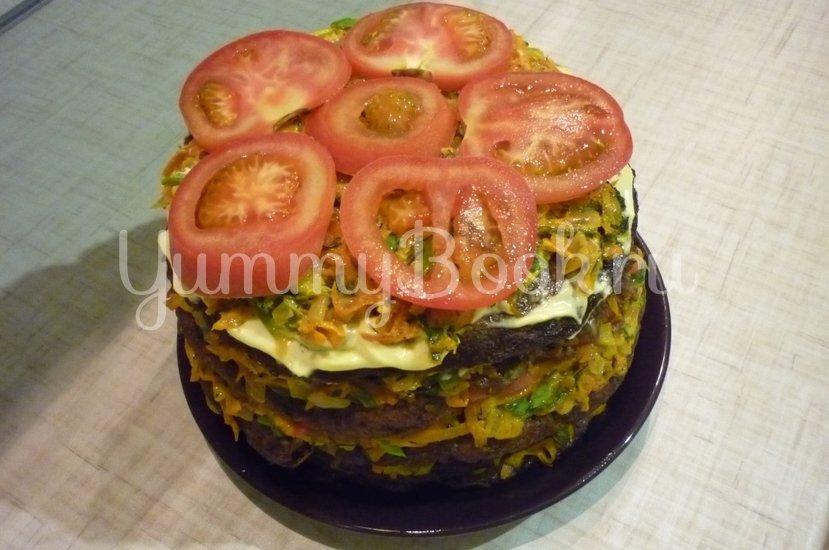 Печёночный торт с зеленью и помидорами - шаг 21