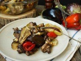 Печёные овощи с брынзой