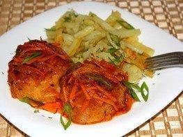 Тефтели из морепродуктов с овощами