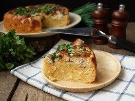 Сырный пирог с курицей в мультиварке