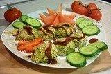 Зелёные сырно-картофельные шашлычки на шпажках
