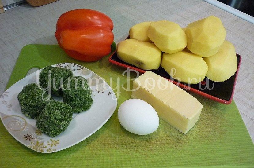 Зелёные сырно-картофельные шашлычки на шпажках - шаг 1