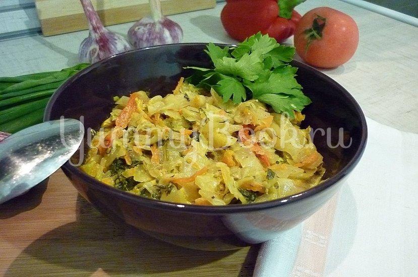 Тушёная капуста с куриным филе в сметане - шаг 18