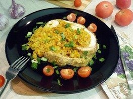 Сочная курица без костей, фаршированная капустой