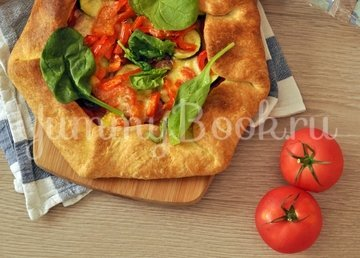 Галета с салями, моцареллой и овощами - шаг 8