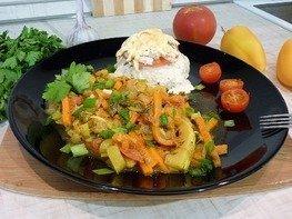 Тушёные кабачки с овощами