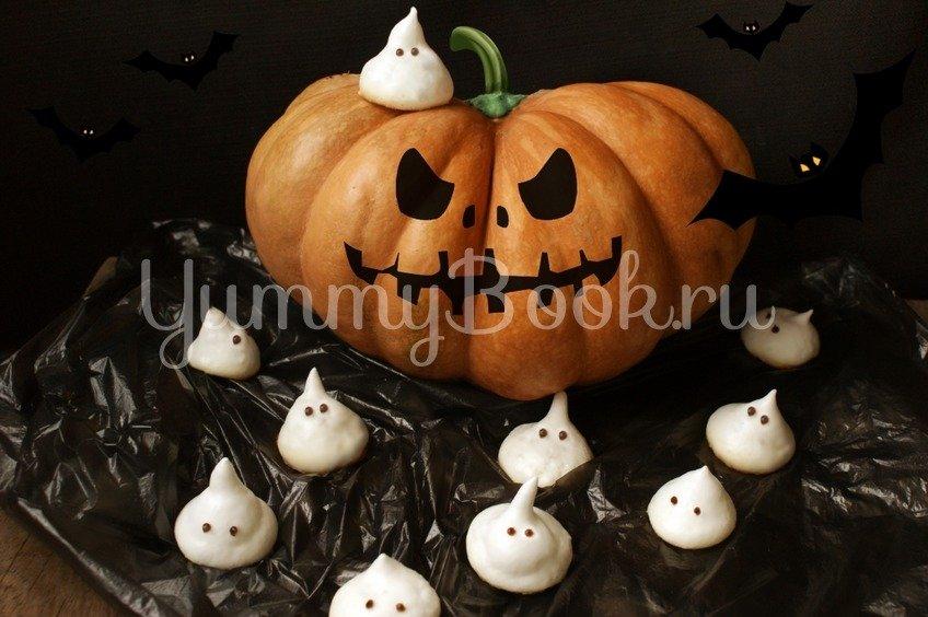 Безе привидения к Хэллоуину