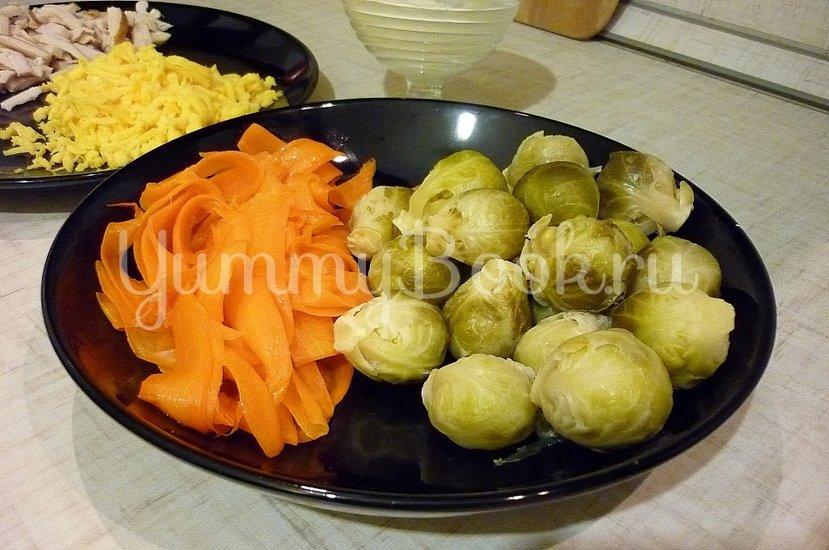 Брюссельская капуста в морковных гнёздах с копчёной грудкой - шаг 5