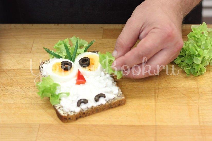 "Детский бутерброд ""Сова"" - шаг 3"