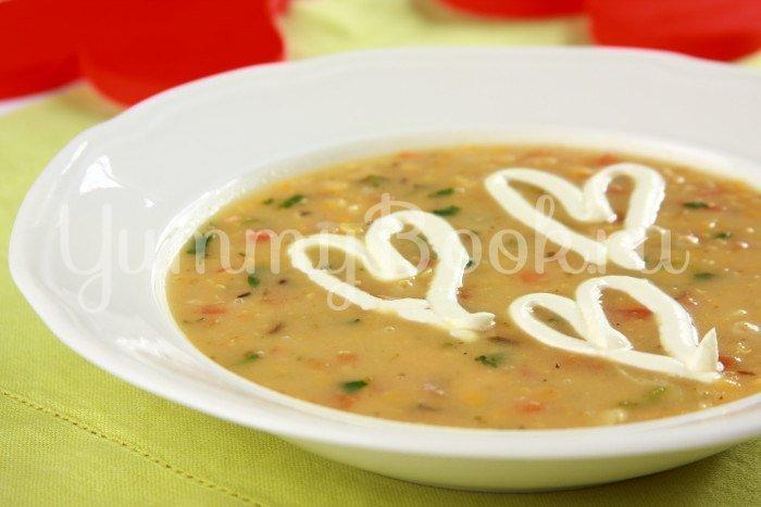 Суп с чечевицей и лососем